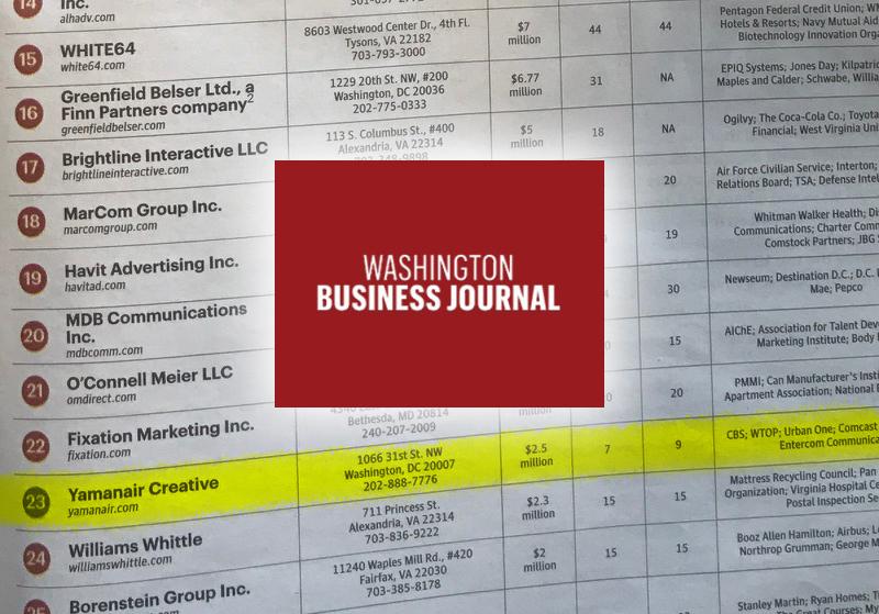 YamanAir Creative Named Top 25 Ad Agencies by Washington Business Journal